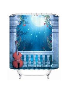 White Violin Under The Moonlight Print 3D Bathroom Shower Curtain