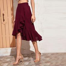 Asymmetrical Ruffle Hem Midi Skirt