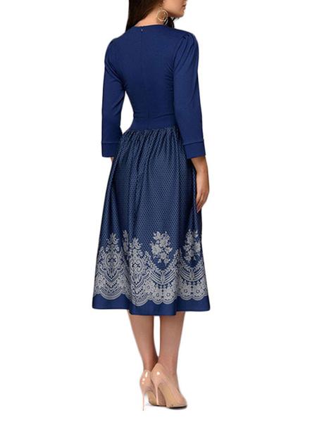 Milanoo Vintage Dress 1950s Sleeved Woman Midi Dress