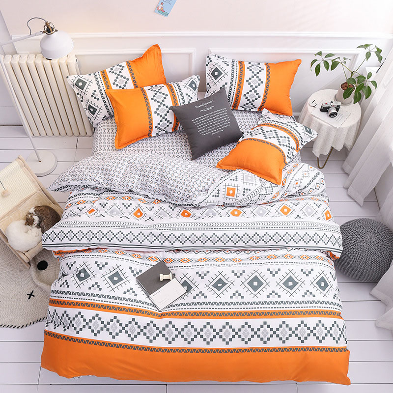 Geometric Shapes Colorfast Orange Duvet Cover Set 4-Piece Reactive Printing Polyester Zipper Bedding Sets