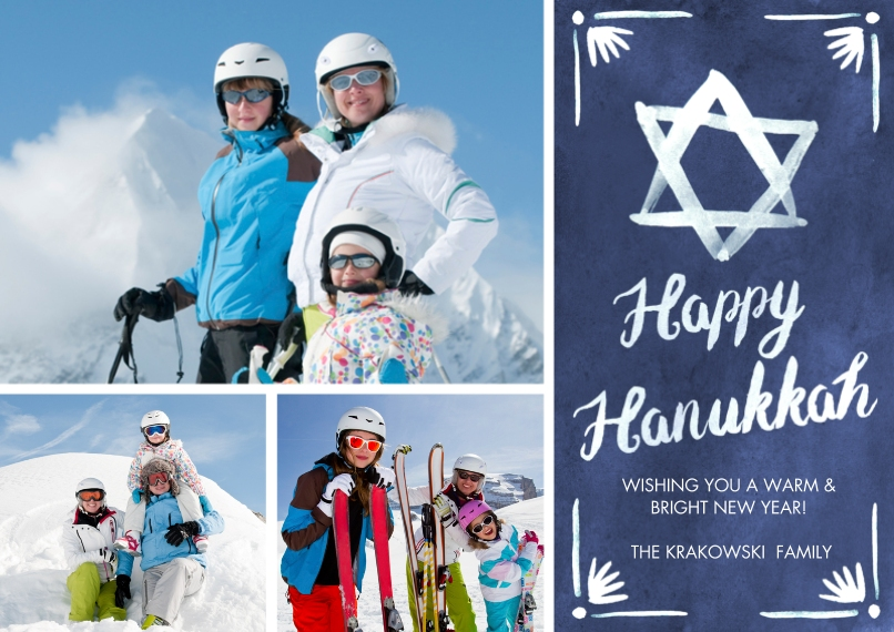 Hanukkah Photo Cards 5x7 Cards, Premium Cardstock 120lb with Scalloped Corners, Card & Stationery -Handpainted Star