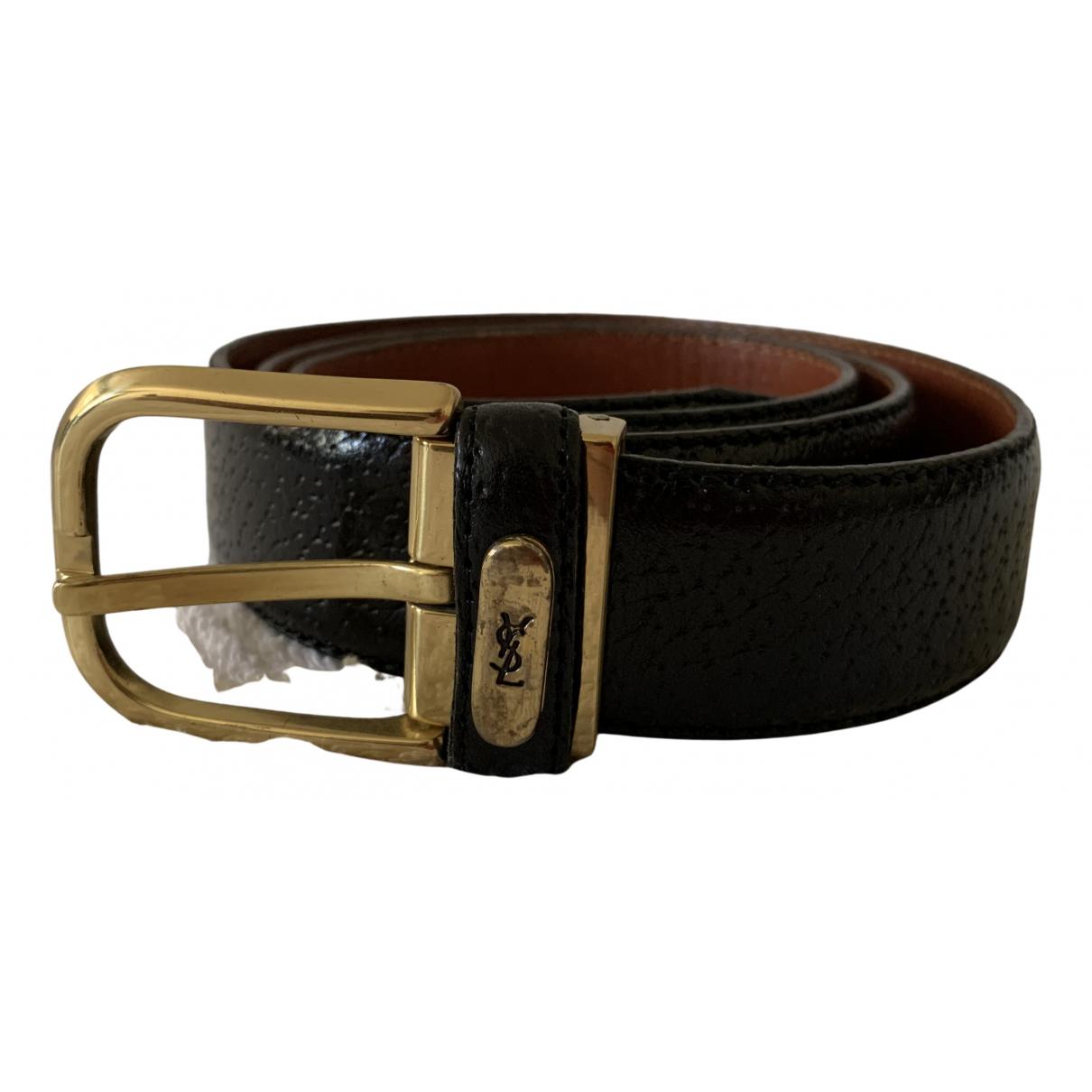 Yves Saint Laurent \N Black Leather belt for Women 85 cm