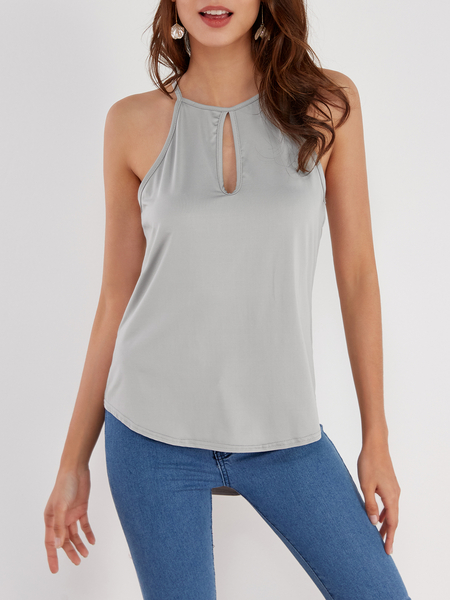Yoins Grey Design Chest Cut Out Camis