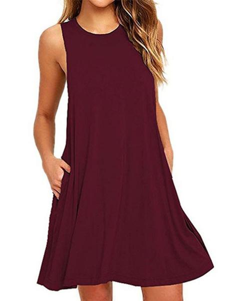 Milanoo Women Shift Dress Women Sleeveless Round Neck Royal Blue Mini Dress