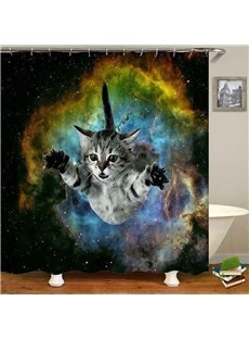 Funny Cat Space Pattern Waterproof Shower Curtain