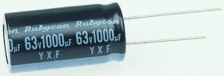 Rubycon 100μF Electrolytic Capacitor 63V dc, Through Hole - 63YXF100MEFCT810X12.5 (10)