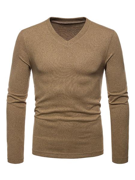 Milanoo Men Knit Wear V Neck Cotton Long Sleeve Pullover Sweater