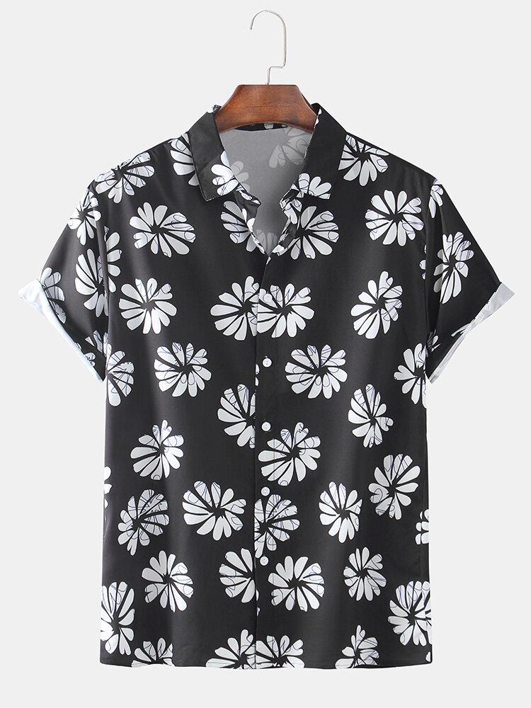 Mens Designer Flower Printed Loose Short Sleeve Shirts