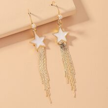Star Charm Tassel Drop Earrings