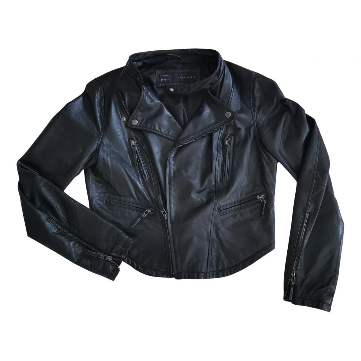 Zara \N Black Leather Leather jacket for Women L International