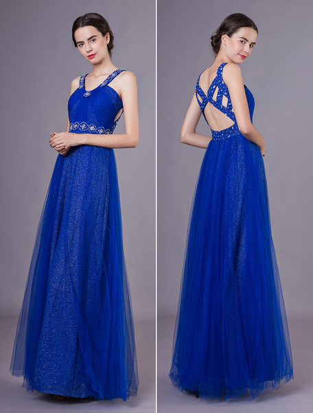 Milanoo Evening Dresses Formal Royal Blue Tulle Cutout Beaded Sequin Floor Length Prom Gowns