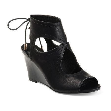 Journee Collection Womens Camia Wedge Sandals, 9 Medium, Black