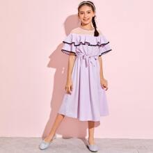 Girls Mesh Yoke Wave Tape Trim Foldover Dress
