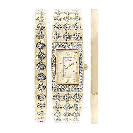 Elgin Womens Gold-Tone Square Bangle Watch and Bracelet Set, One Size , No Color Family