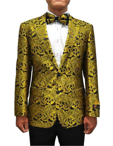 Cheap Mens Printed Flower Jacket Prom modern Tux Gold