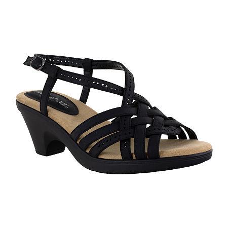 Easy Street Womens Jackson Heeled Sandals, 8 Medium, Black