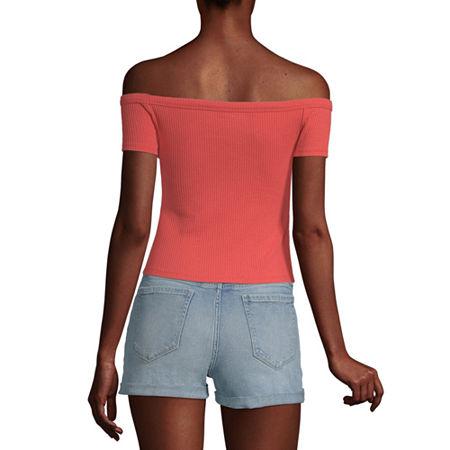 Arizona Womens Straight Neck Short Sleeve Blouse, Small , Red