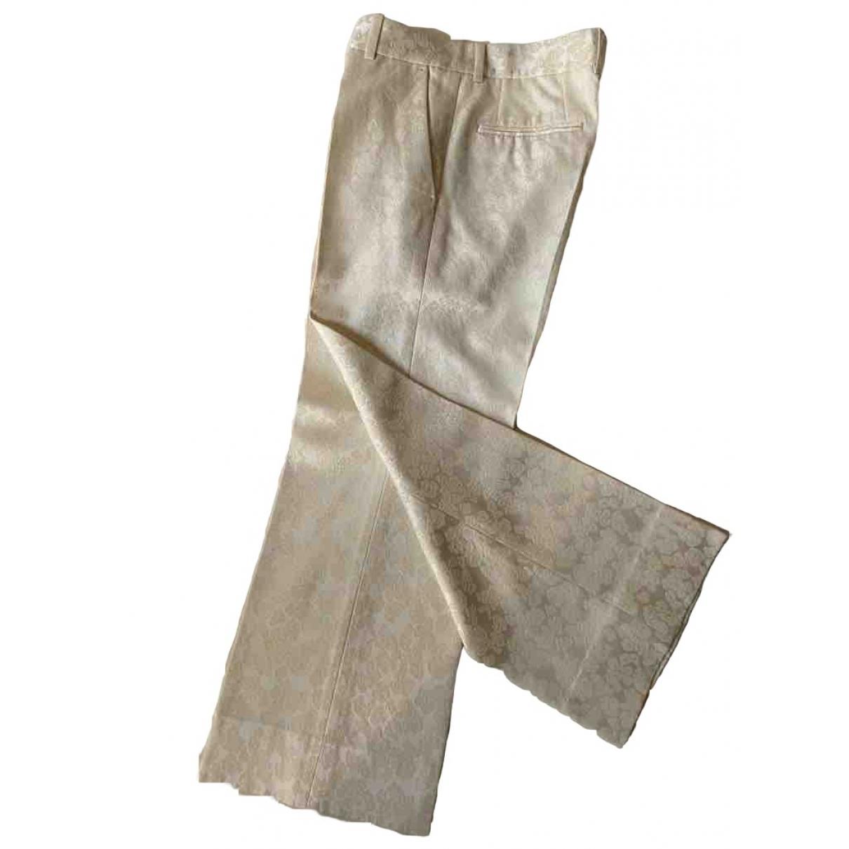 Celine \N White Wool Trousers for Women 38 IT