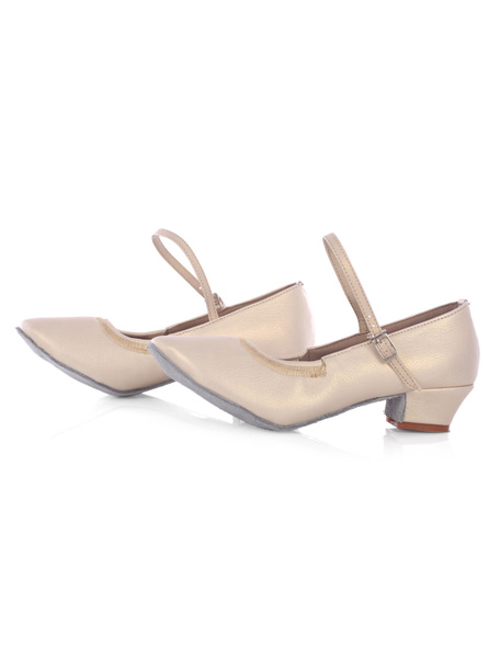 Milanoo Latin Dance Shoes Women's Round Toe Mary Jane Strap Puppy Heel Ballroom Shoes