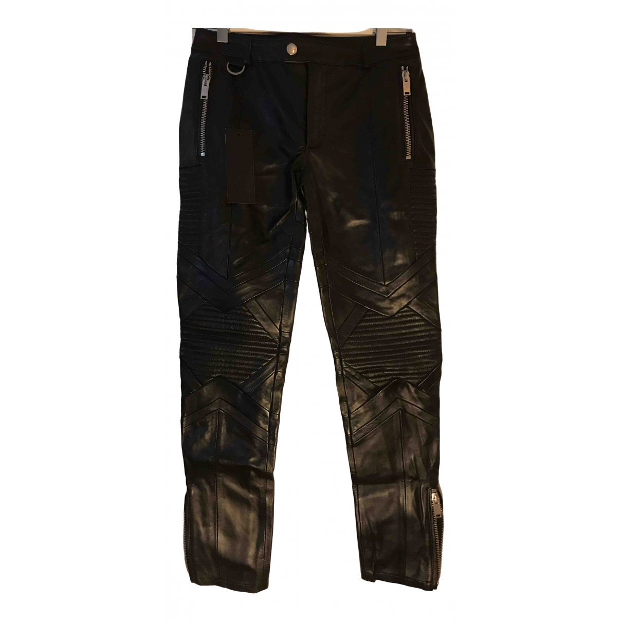 Les Hommes \N Black Leather Trousers for Men 44 IT