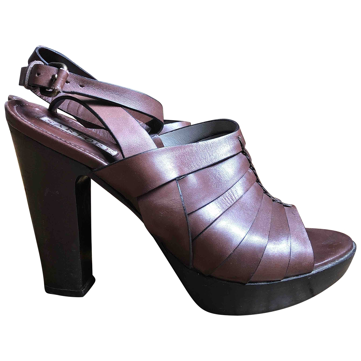 Sartore \N Brown Leather Sandals for Women 37.5 EU