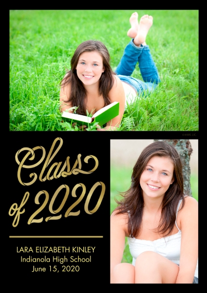 2020 Graduation Announcements 5x7 Cards, Premium Cardstock 120lb with Elegant Corners, Card & Stationery -Two Tone Gold 2020 Announcement by Hallmark