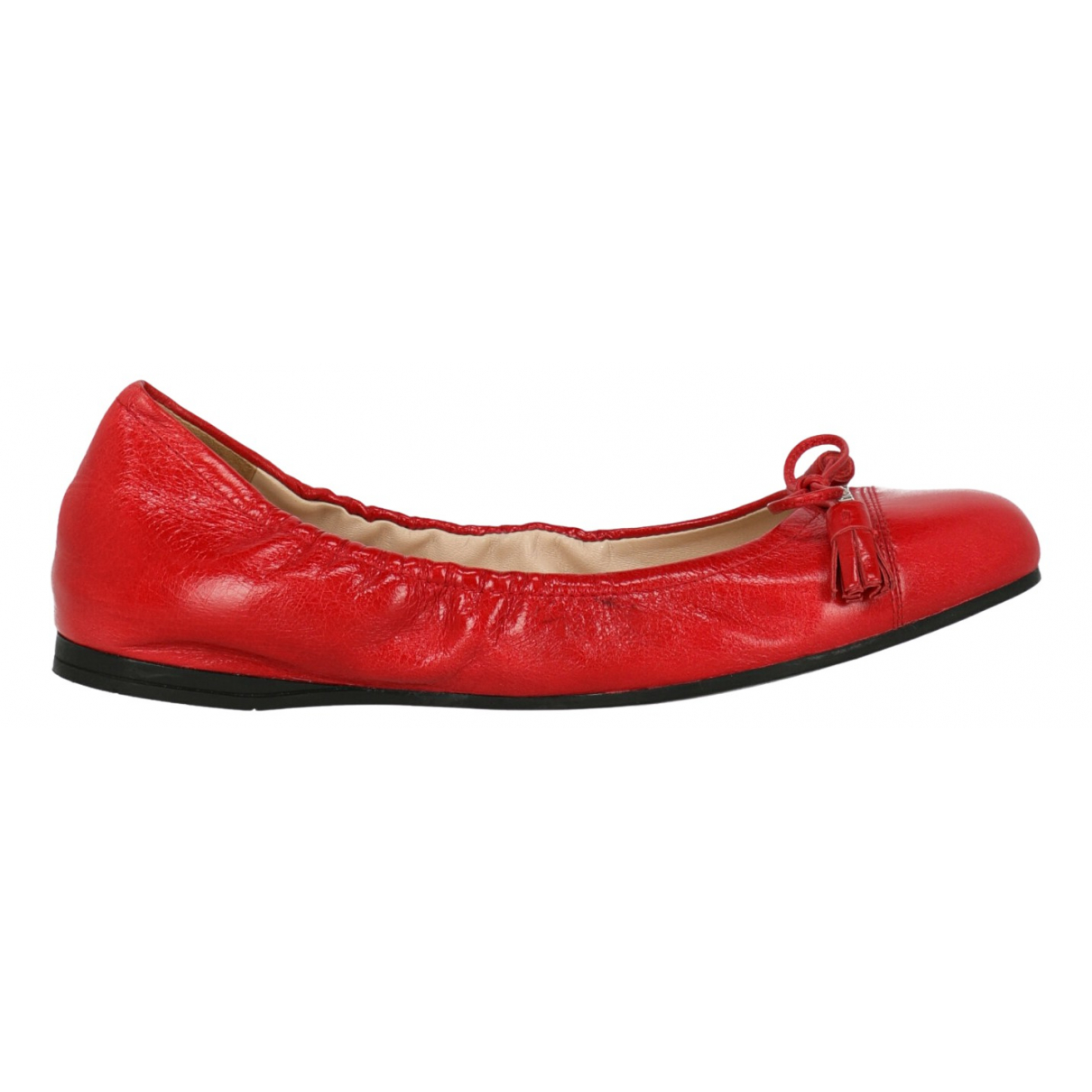 Prada \N Red Leather Ballet flats for Women 36.5 IT