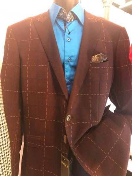 Mens Windowpane Brown Blazer ~ Sportcoat ~ Jacket