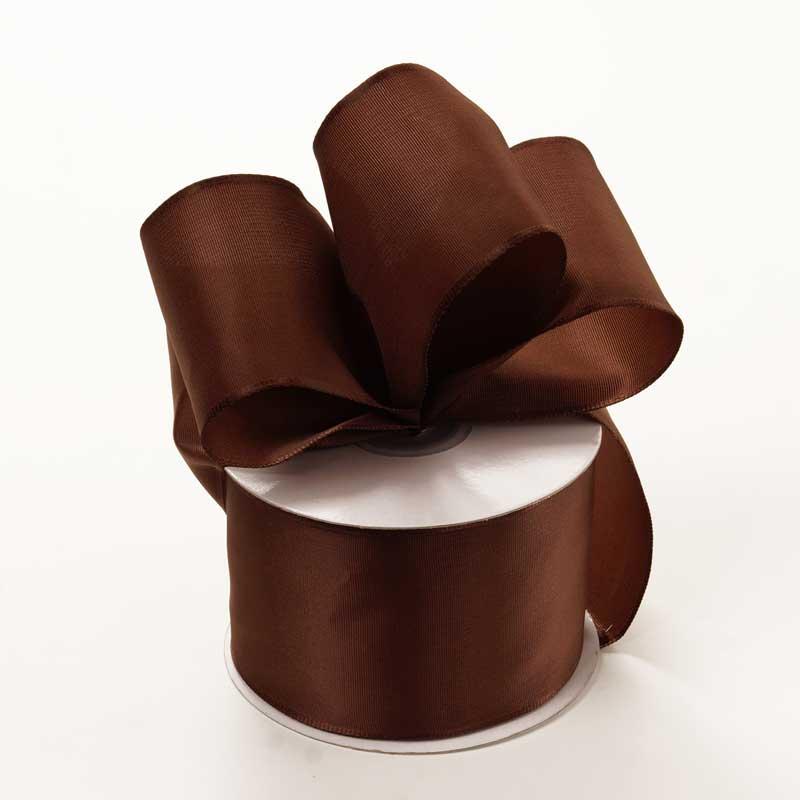 Grosgrain 2-1/2 X 25 Yards Brown Trevia Taffeta Wired Ribbon by Ribbons.com