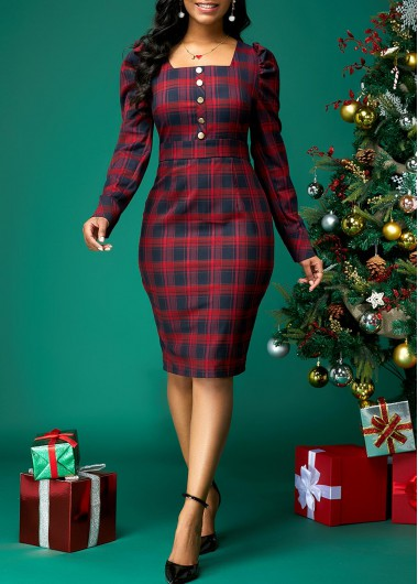 Women'S Red Plaid Print Square Collar Button Front Cute Holiday Dress  Long Sleeve Sheath Cocktail Party Midi Dress By Rosewe - XL