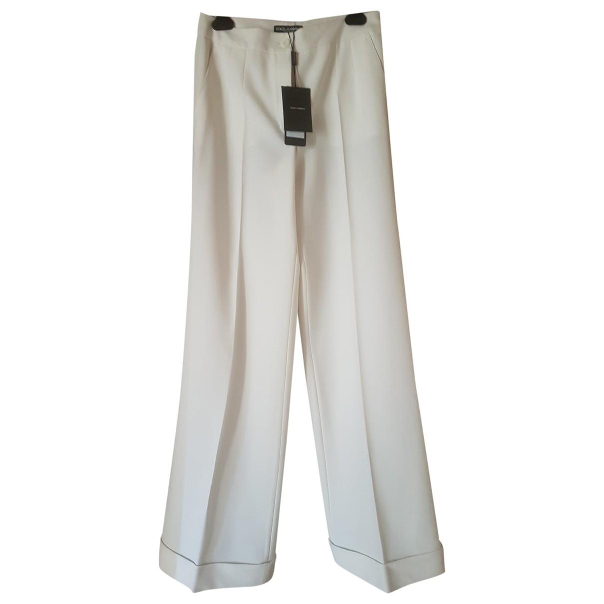 Dolce & Gabbana \N White Wool Trousers for Women 42 IT