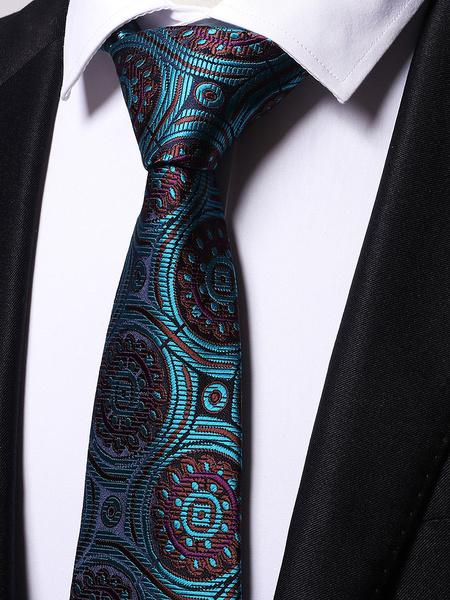 Milanoo Men Casual Business Ties Blue Green Printed Neck Ties