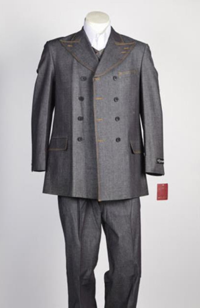 Mens Grey Fashion Denim Cotton Jean Fabric Double Breasted Suit