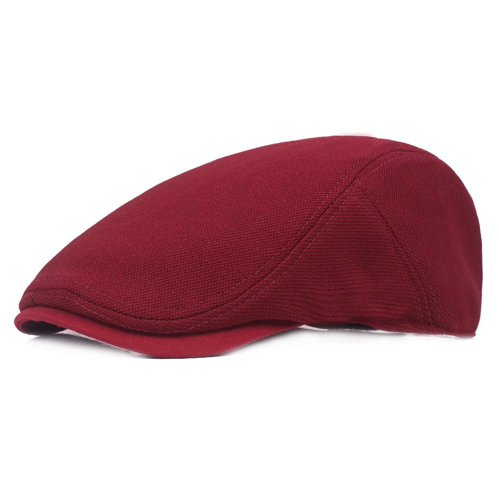 Mens Summer Vintage Pure Cotton Beret Hat Casual Adjustable Breathable Newsboy Cabbie Cap