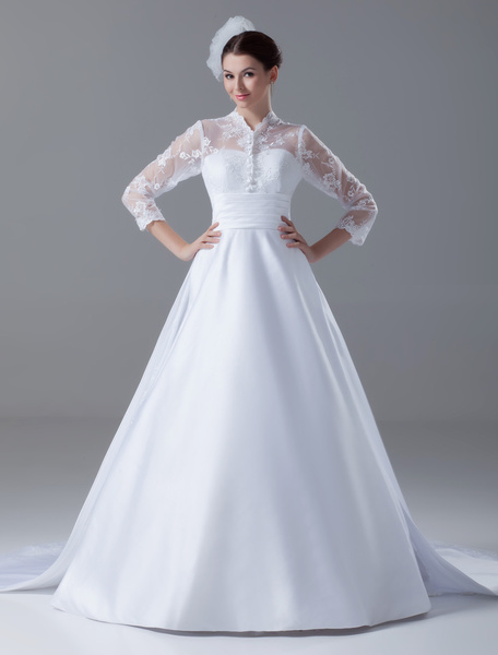 Milanoo Court Train White Ball Gown Lace Bridal Wedding Gown with High Collar