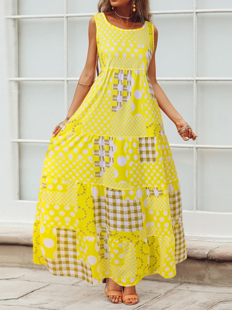 Ericdress Sleeveless Round Neck Print Vintage Plaid Dress