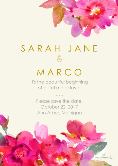 Save the Date Flat Matte Photo Paper Cards with Envelopes, 5x7, Card & Stationery -Watercolor Floral