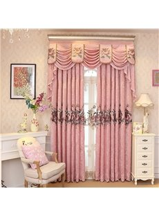 European Romantic Pink Embroidered Flowers 2 Panels Decorative Living Room Window Drape