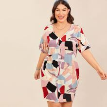 Plus Rolled Batwing Sleeve Geo Dress