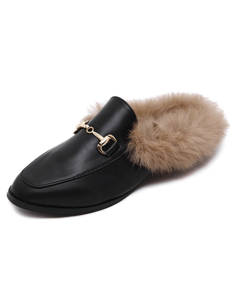 Milanoo Black Women Mules 2020 Round Toe Rabbit Fur Flat Slip On Mule Loafers