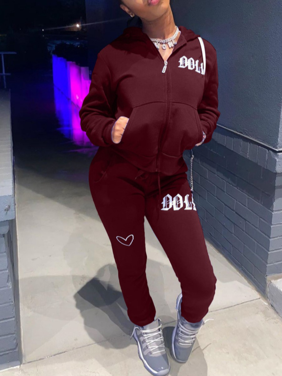 LW lovely Casual Hooded Collar Embroidered Zipper Design Wine Red Two Piece Pants Set