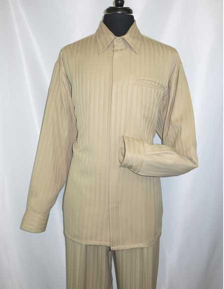 Long Sleeve Khaki Hidden Buttons Walking Shirt and Pant Set