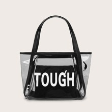 Clear Letter Graphic Tote Bag With Inner Pouch