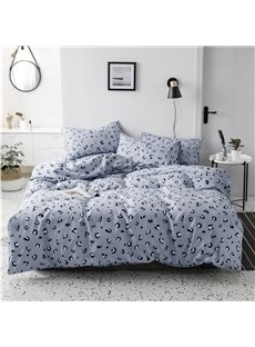 Blue Leopard Grain Pattern 4-Piece Cotton Bedding Sets/Duvet Covers