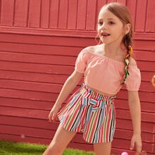 Toddler Girls Crop Bardot Top With Striped Belted Shorts