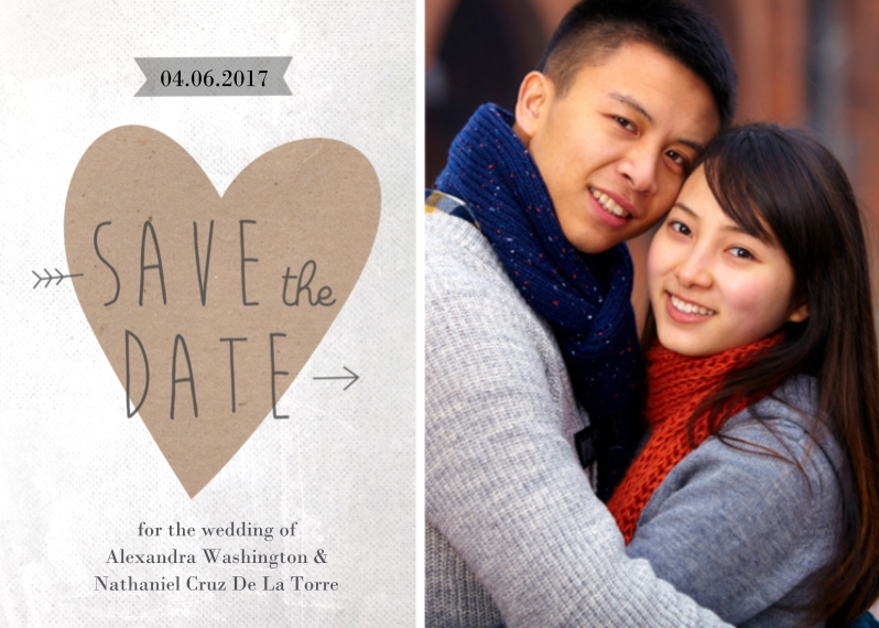 Save the Date Flat Glossy Photo Paper Cards with Envelopes, 5x7, Card & Stationery -Save the Date Heart