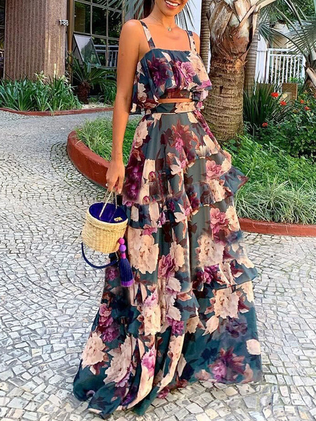 Milanoo Two Piece Sets Floral Printed Ruffles Sexy Sleeveless Women Outfit