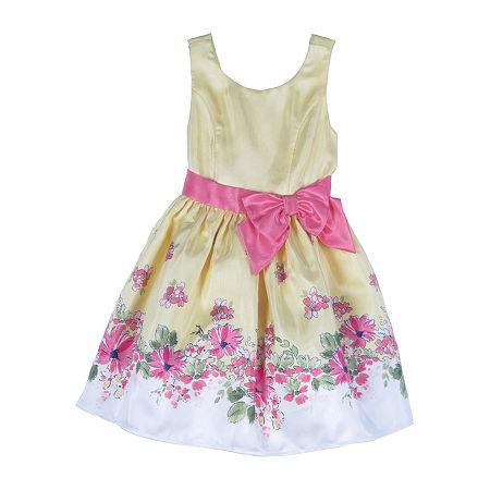 Lilt Little & Big Girls Sleeveless Party Dress, 7 , Yellow