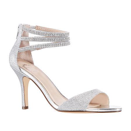 I. Miller Womens Vartan Heeled Sandals, 9 1/2 Medium, Silver