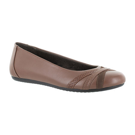 Easy Street Womens Derry Ballet Flats, 7 Extra Wide, Brown